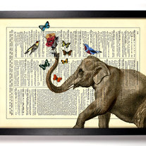 Image of Elephant With Friends, Vintage Dictionary Print, 8 x 10