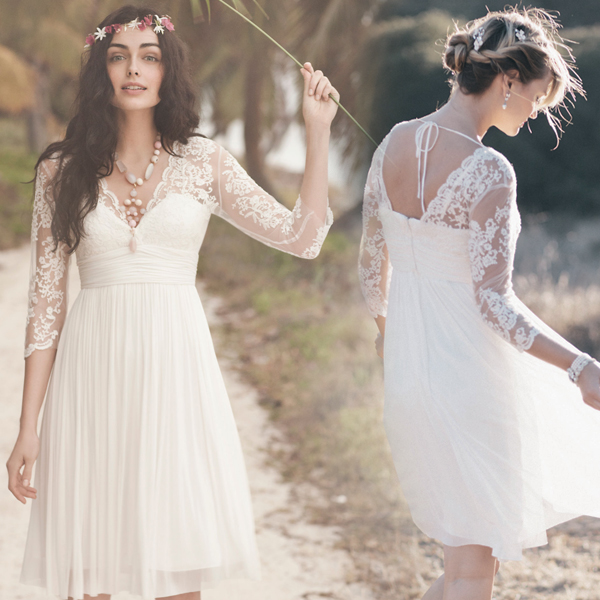 Short prom dress, white prom dress, long sleeve prom dress, lace ...