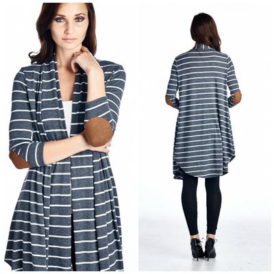 Long elbow patch cardigan