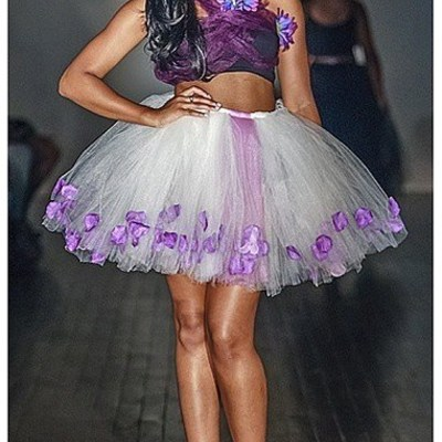Purple tulle skirt-short