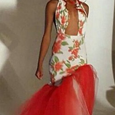 Floral a-sym tulle dress