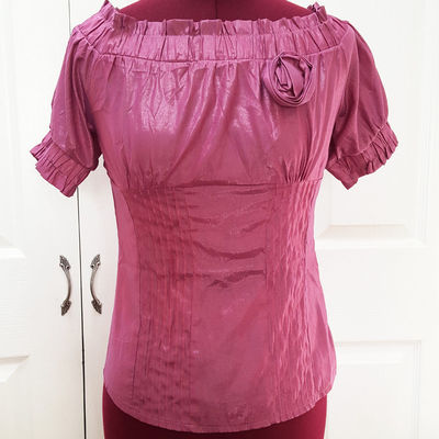 M purple pink boat neck fitted ruched silk blouse short sleeve rose top rockabilly
