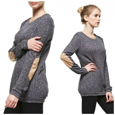 Suede elbow patch long sleeve top - charcoal
