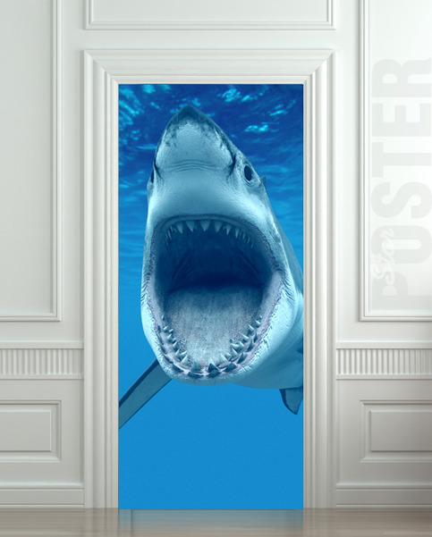 Wall Door Sticker Shark Sea Ocean Wilderness Animal Mural