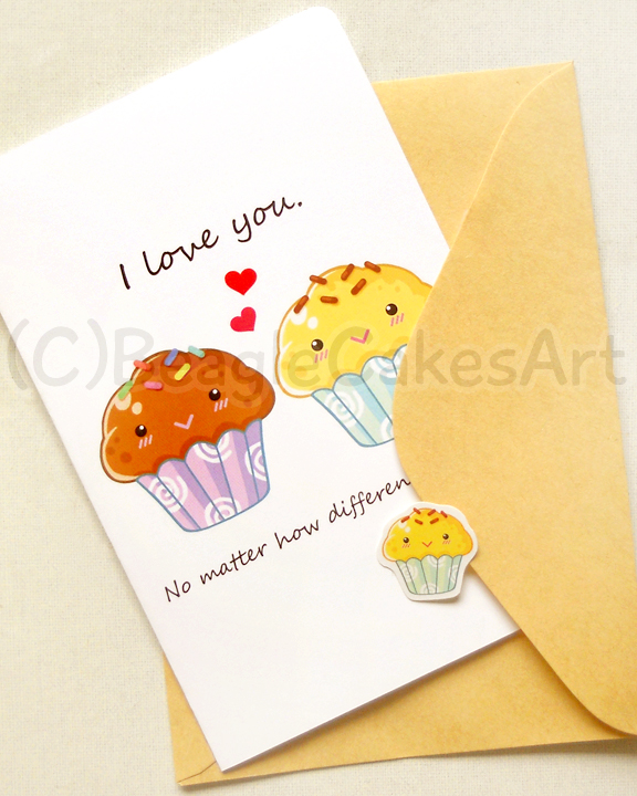 Cute Muffin Couple 4x6 Inch Notecard Kawaii Cupcake Food – Food Valentines Day Cards