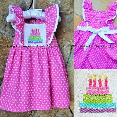 Smocked birthday cake flutter dress