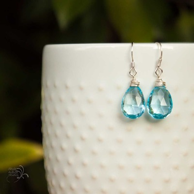 Sky blue topaz earrings - Thumbnail 2