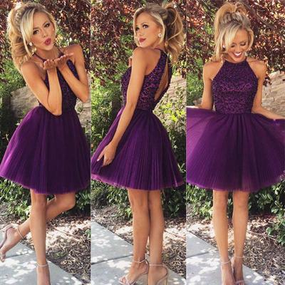 short homecoming dress, purple homecoming dress, junior homecoming ...