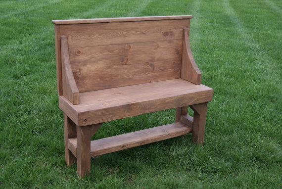 furniturefarm rustic entry bench with full back solid wood with shelf underneath radius arms. Black Bedroom Furniture Sets. Home Design Ideas