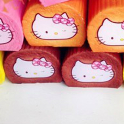 Hello kitty swiss roll/cake roll squishy wrist pad cell phone charms