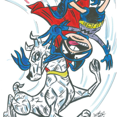 Original artwork- bizarro krypto vs bat-mite