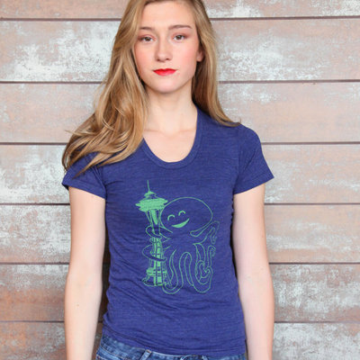Seattle seahawks sounders womens tee blue and green octopus