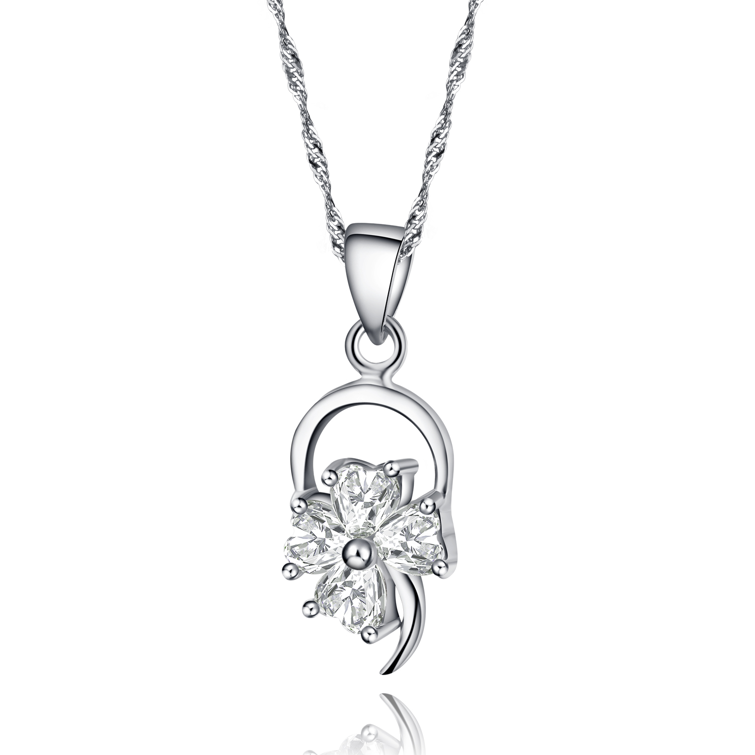 Genuine 925 sterling silver flower pendant necklace paved cubic genuine 925 sterling silver flower pendant necklace paved cubic zirconia cz gem stone and 18 inch aloadofball Choice Image