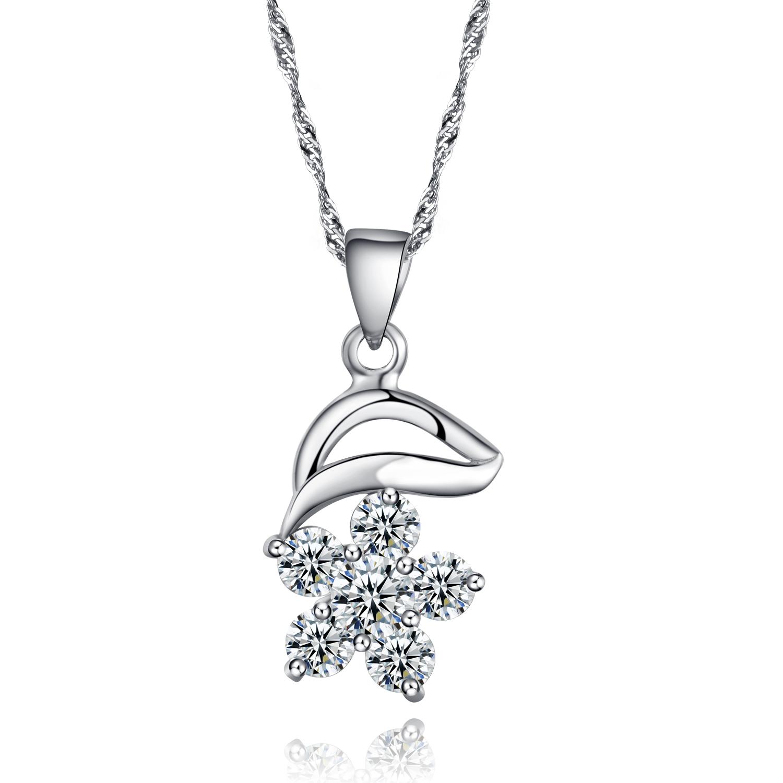 Genuine 100 925 sterling silver flower pendant necklace paved cubic genuine 100 925 sterling silver flower pendant necklace paved cubic zirconia cz gemstones and 18 aloadofball Choice Image