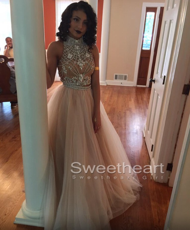 Sweetheart Girl | Custom Made Light Champagne Tulle Long Prom ...