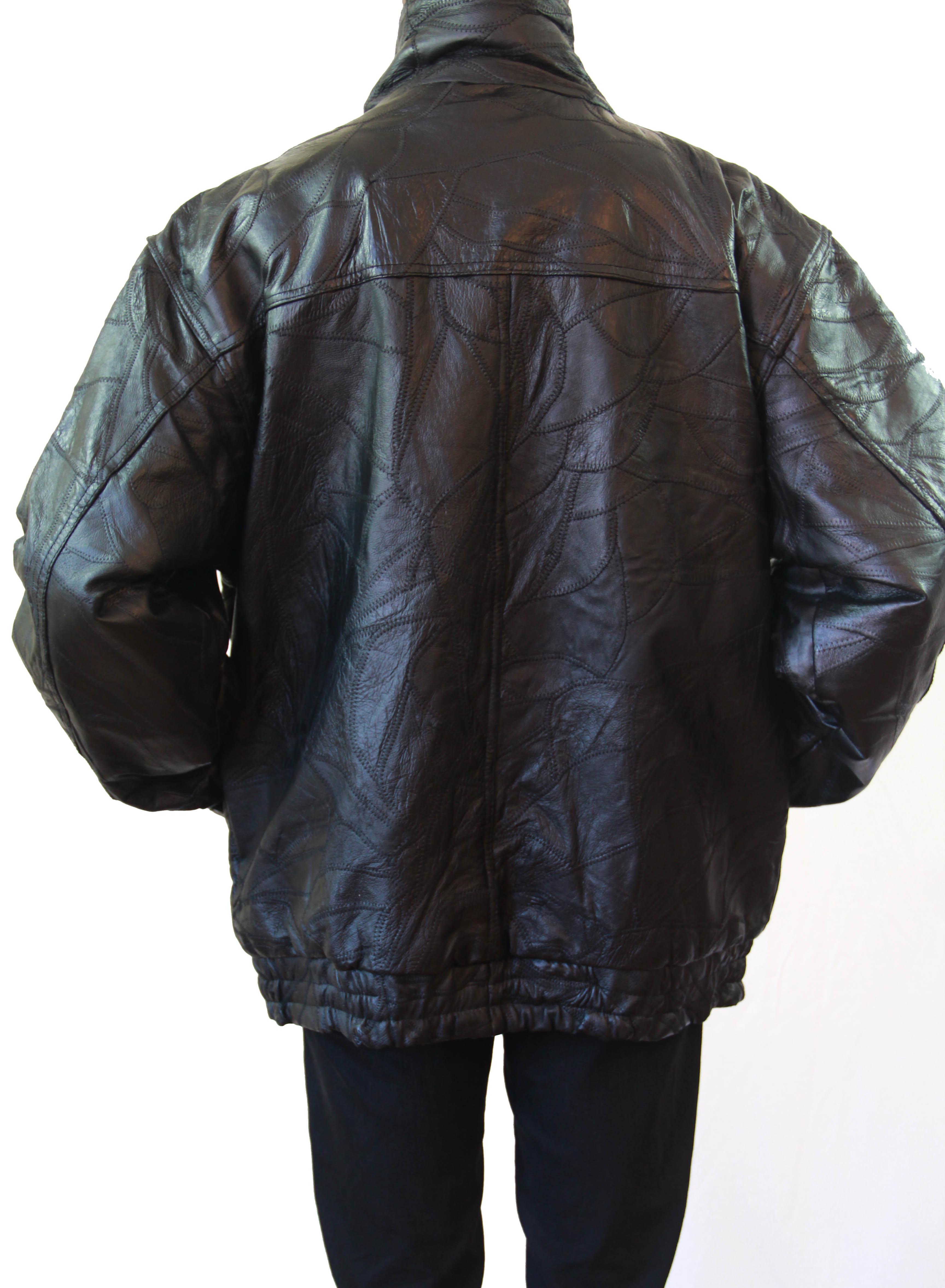 Leather jacket xl size -  Baggy Leather Jacket Size Xl Thumbnail 2