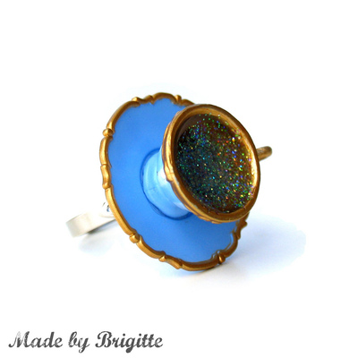 Blueberry blue teacup ring