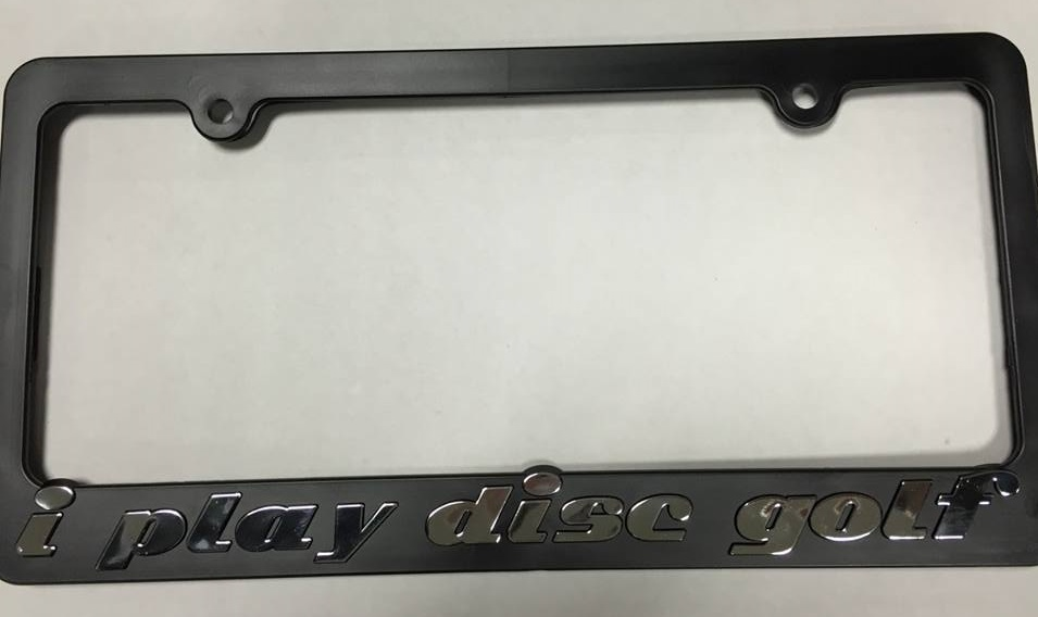 i play disc golf black and oem chrome license plate frames