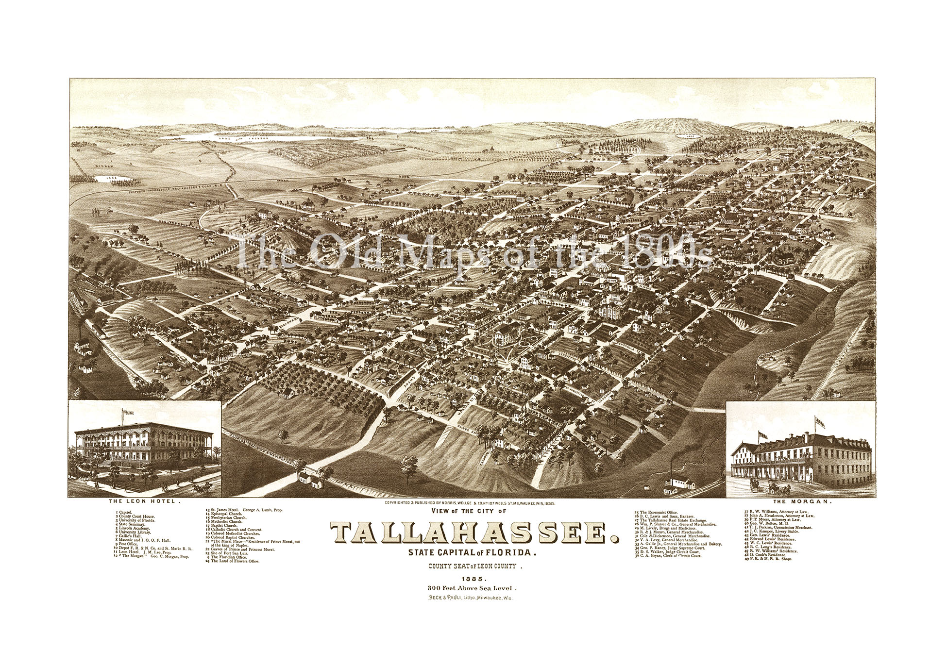 Tallahasssee Florida In Birds Eye View Map Aerial - Vintage milwaukee map