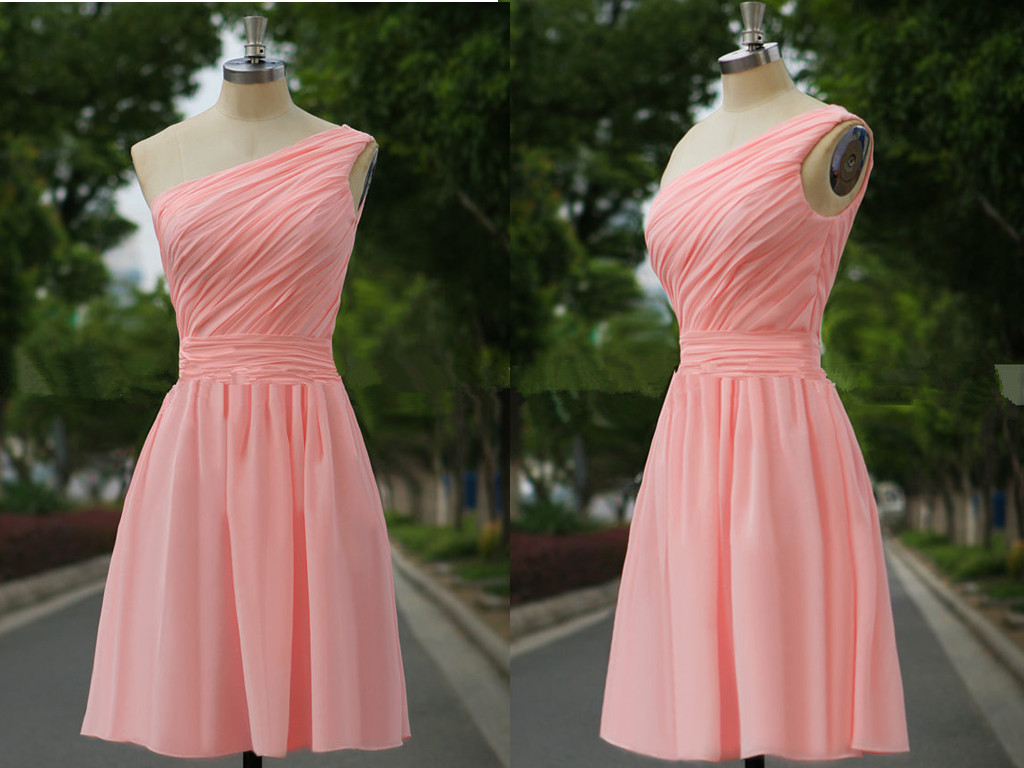 Cute Simple Pink Short One Shoulder Bridesmaid Dresses, Short ...
