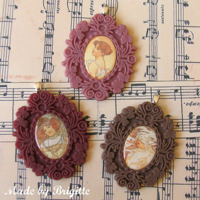 Art nouveau cameo necklaces