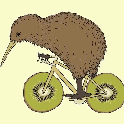Kiwi riding bike with kiwi wheels 5x7 print