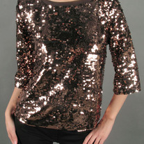 Copper Glittering Metallic Sequin Beaded Gamma Ray Top Tunic S