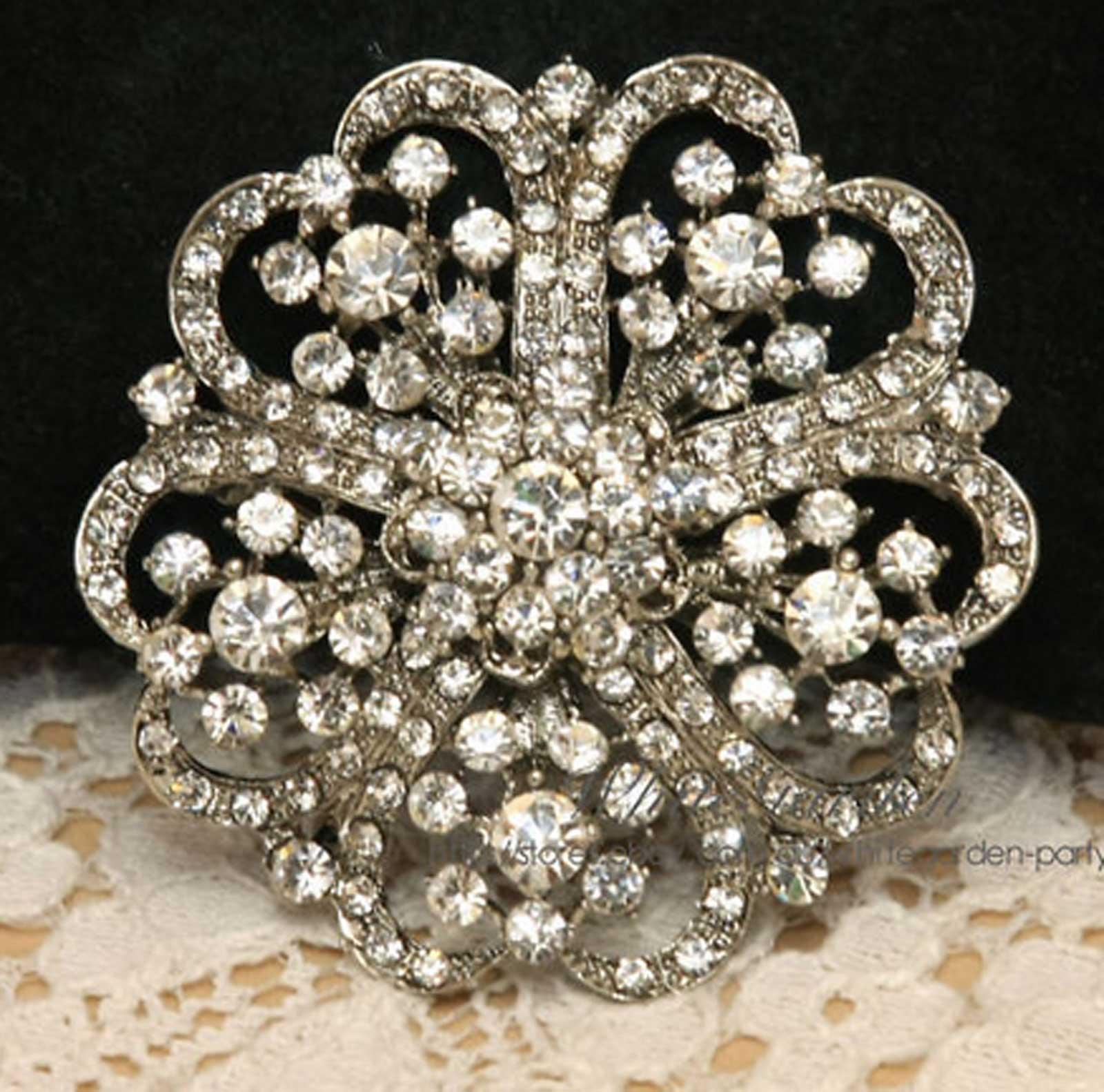 Crystal Rhinestone Round Flower Wedding Bridal Cake Silver