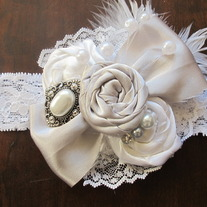 Silver Satin Bow headband