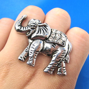 Classic Adjustable Elephant Animal Ring in Silver