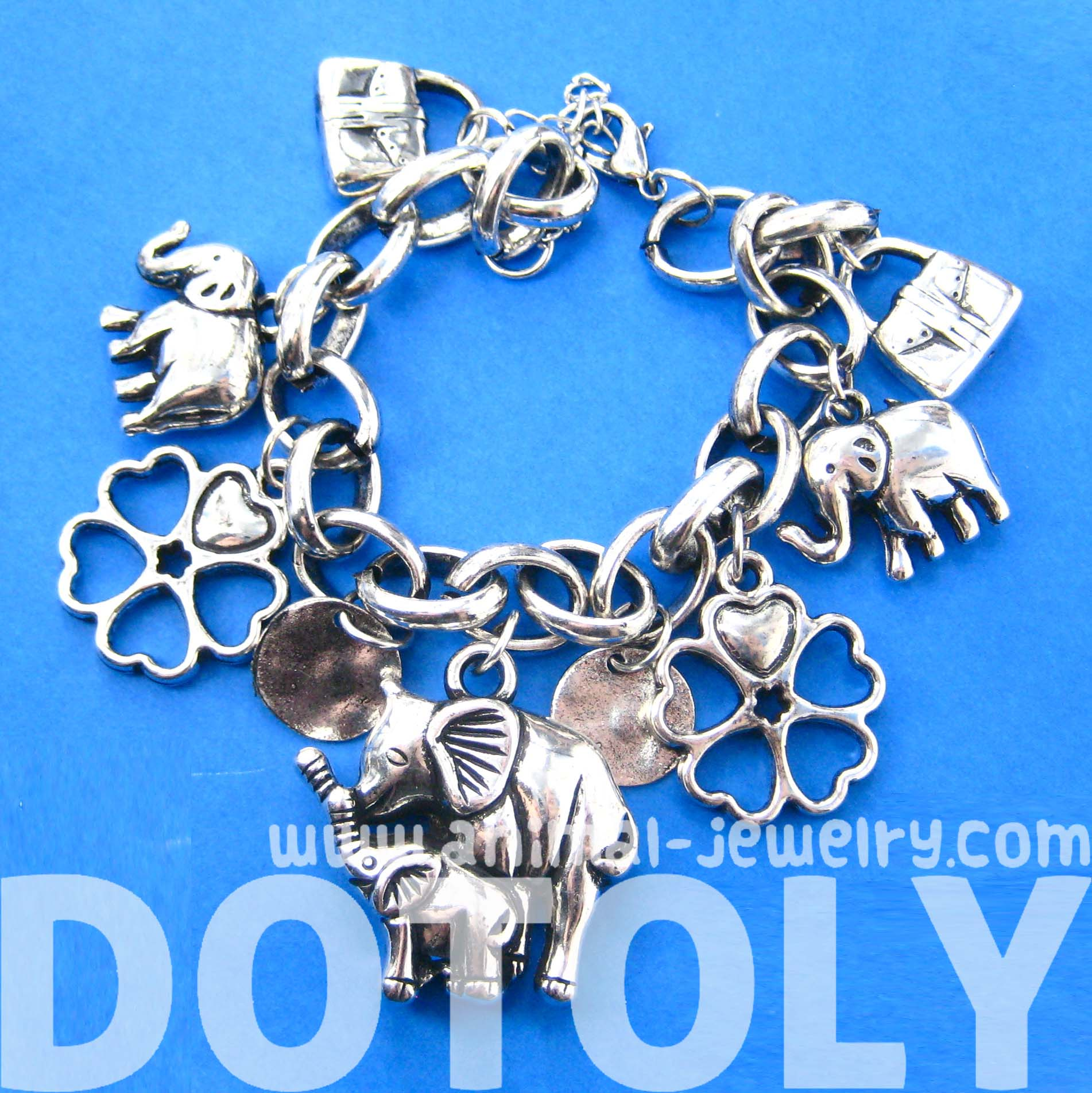 Elephant Mother and Baby Shaped Charm Bracelet in Silver