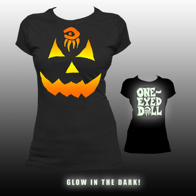 Glow pumpkin shirt - lady fitted