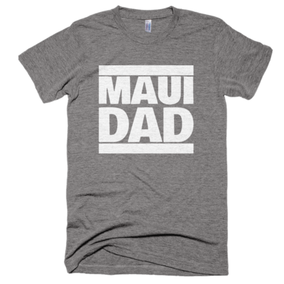 "Athletic grey ""maui dad"" tee, made in usa"