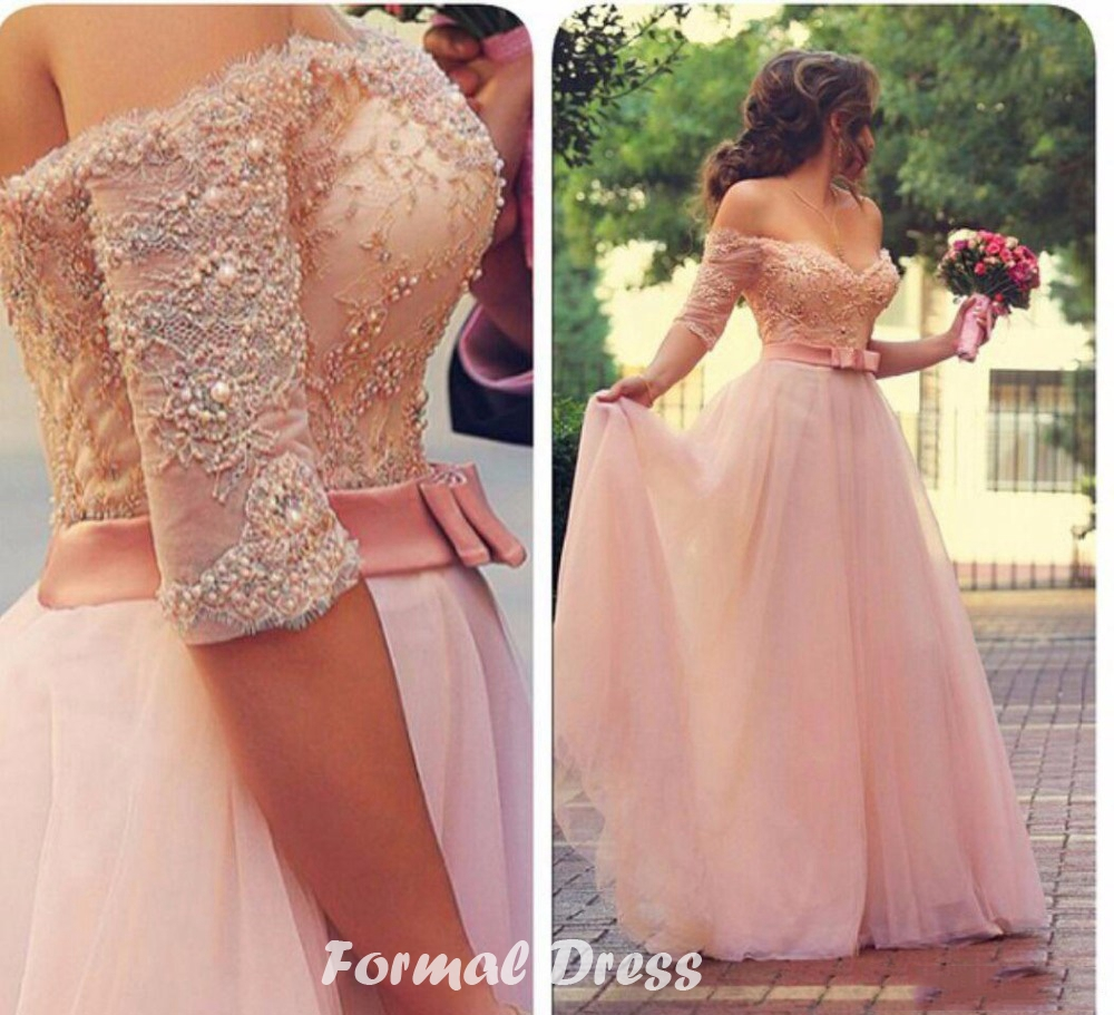 Formal Dress   Pink A-line Lace Sweetheart Neck Long Prom Dresses ...