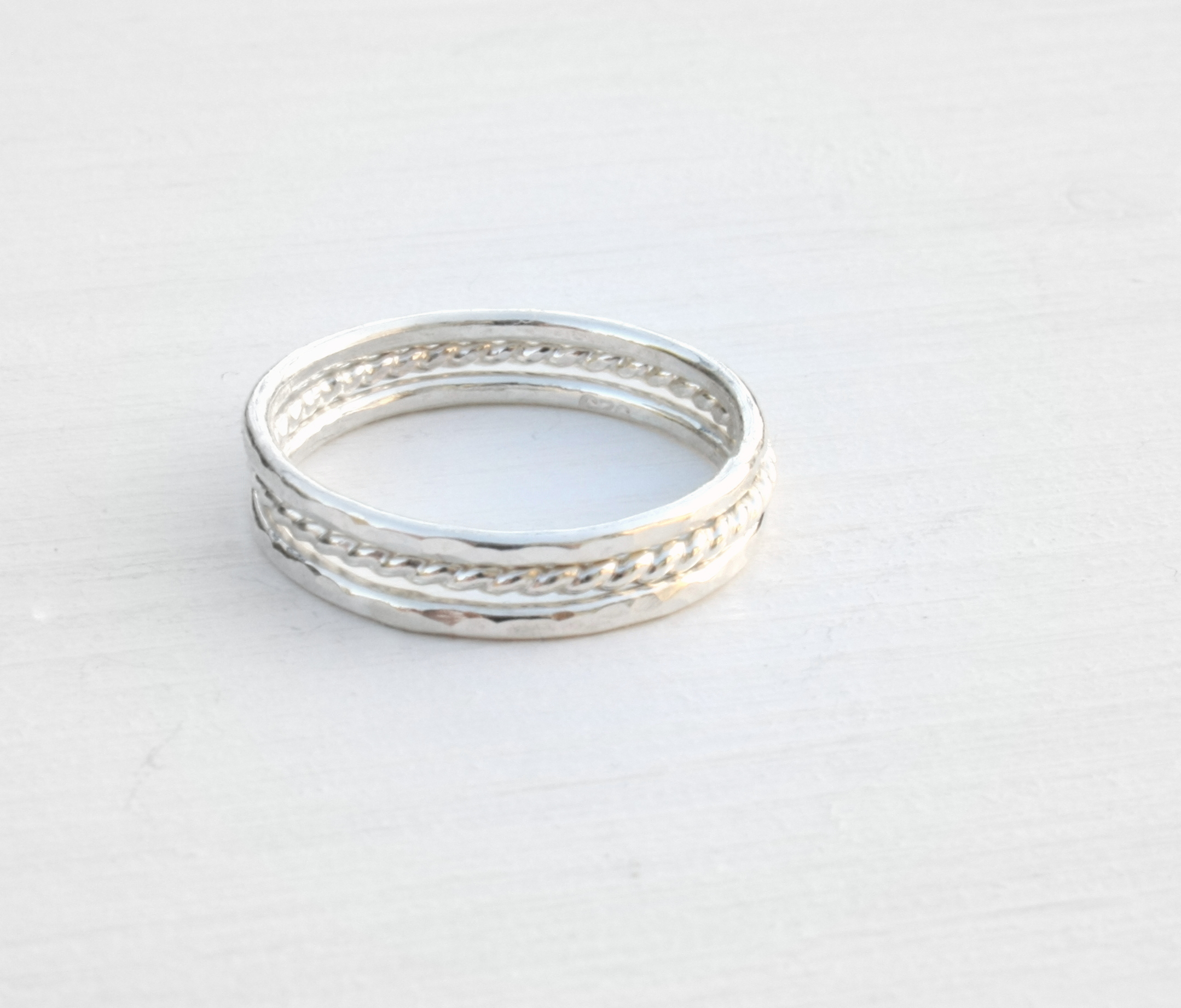 Three Stacking silver rings / hammered stacking rings twisted wire ...