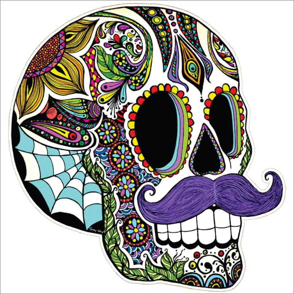 Mustache Sugar Skull Vinyl Decal Sticker Inch TheDecalKing - Vinyl decals custompack of custom skull face vinyl decalsstickers thedecalking