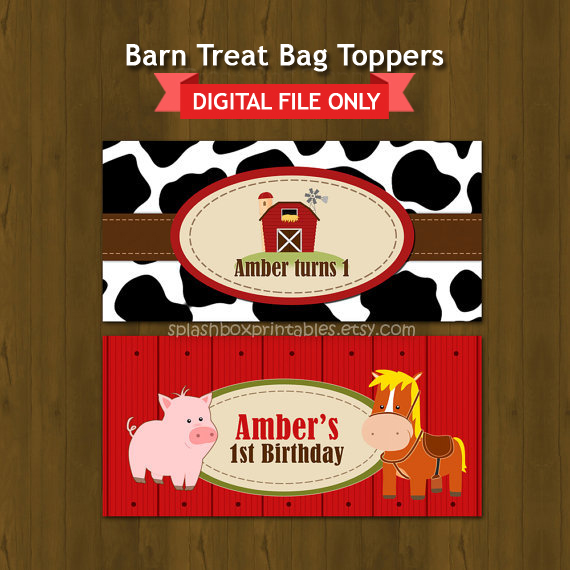 Barn Barnyard Birthday Party Decorations Treat Bag Toppers