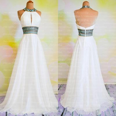 white prom dress, halter prom dresses, chiffon prom dresses, long ...