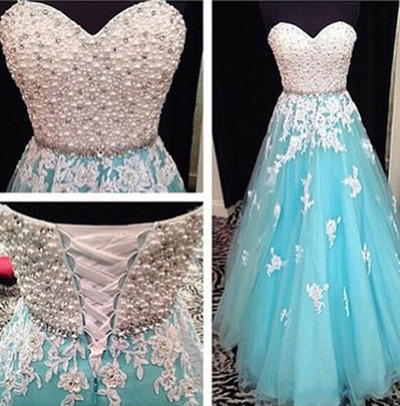 A line blue Prom Dress, Beaded Prom Dress, lace Prom Dress, Tulle ...