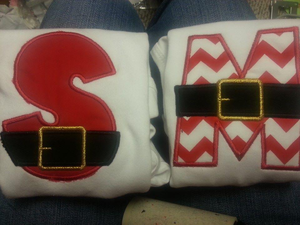 Santa Belt Letter Embroidered And Monogrammed Tshirt Or