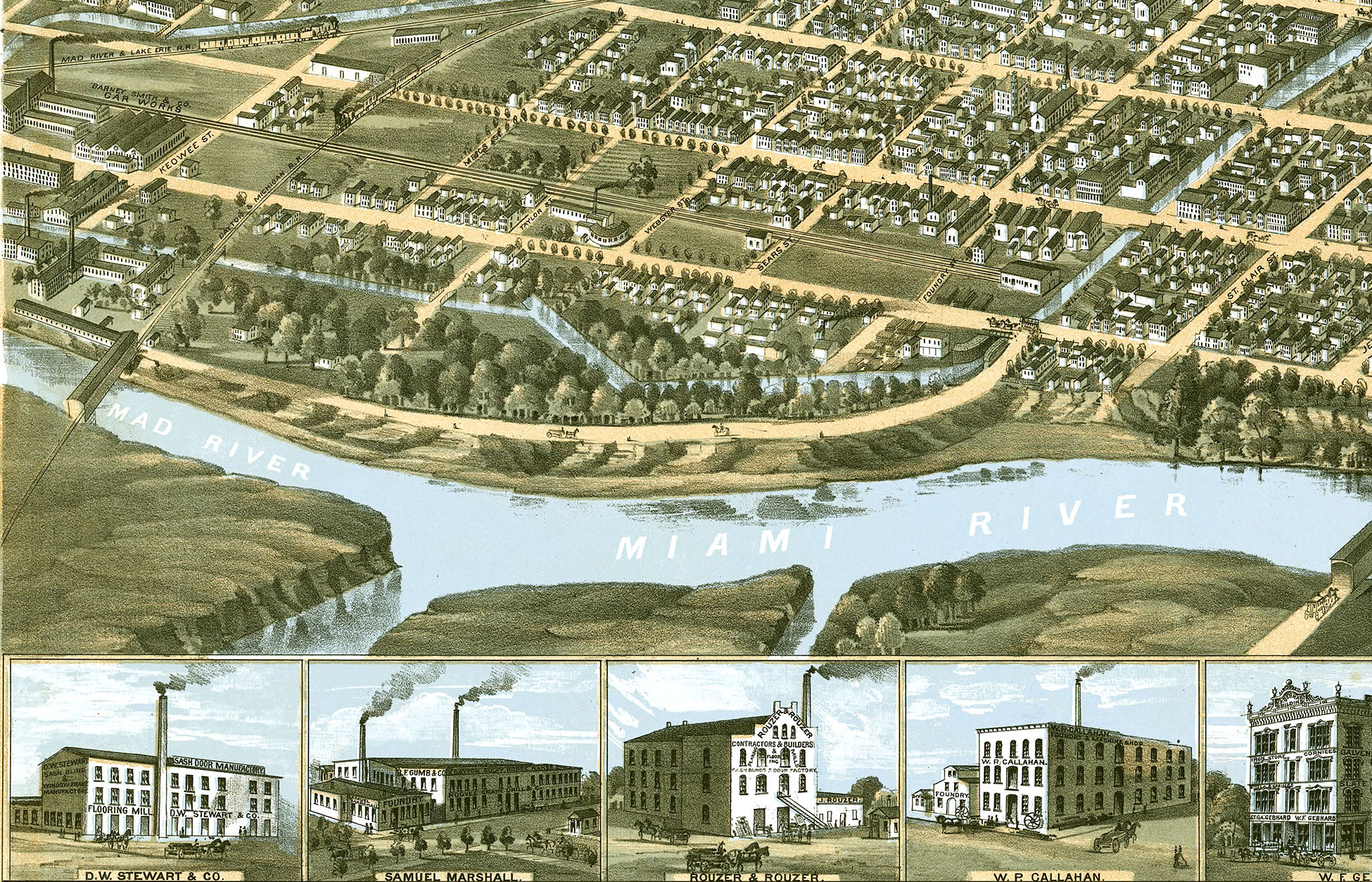 Dayton Ohio in 1870 Birds Eye View Map Aerial Panorama map