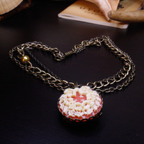 White Wreath, Red Tree Brass Cameo Necklace