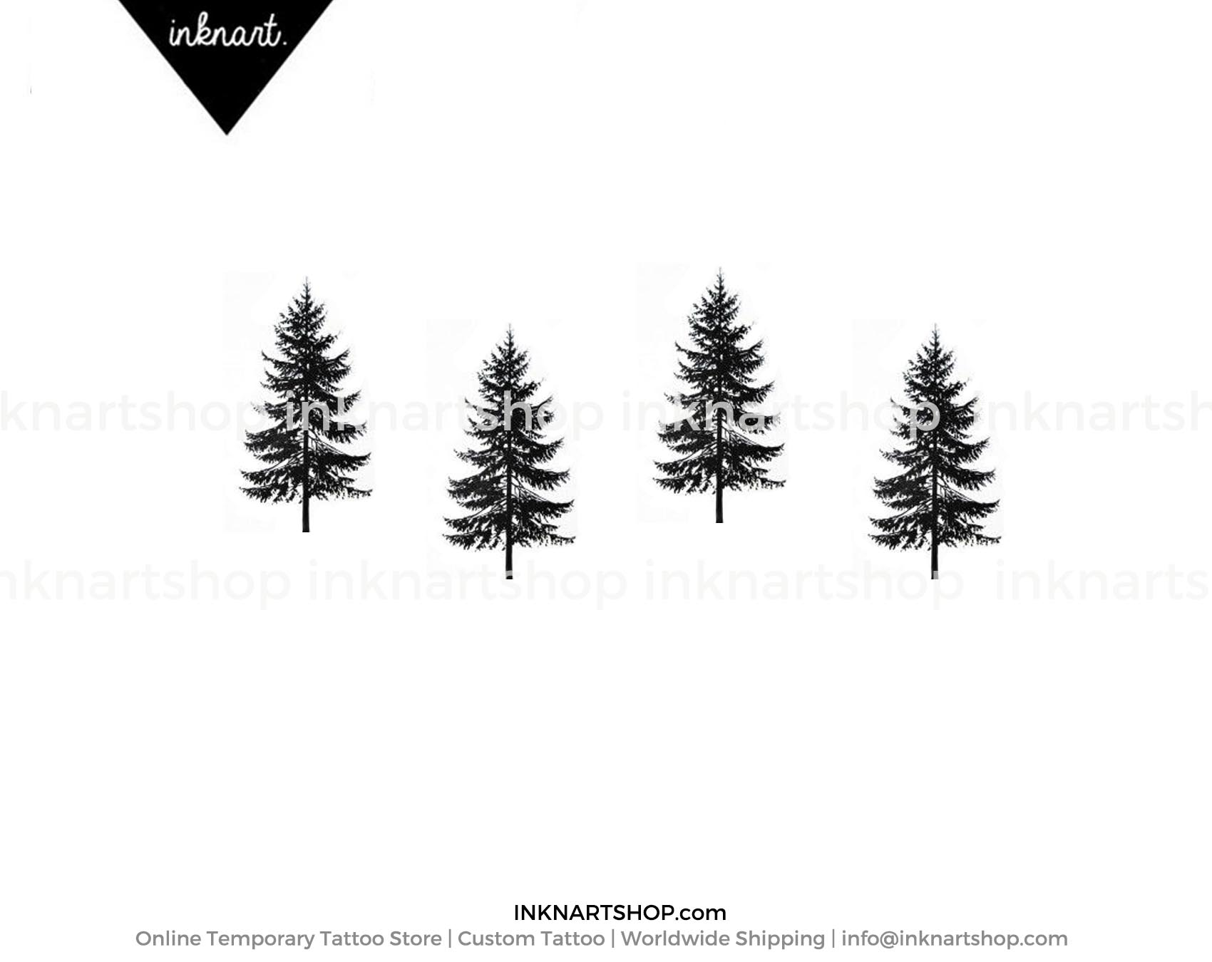 4pcs Tiny Pine tree tattoo christmas gift small - InknArt Temporary ...