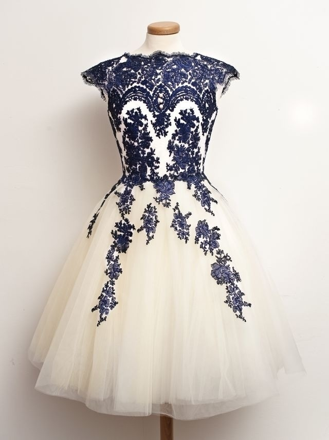 Newest Elegant Lace Short Homecoming Dresses,Beautiful Creamy ...