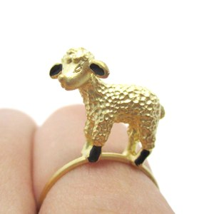 3D Super Cute Animal Ring With a Small Lamb in Gold