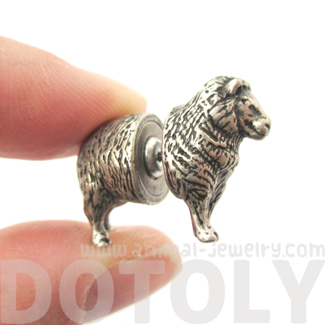 Fake Gauge Wooly Sheep Shaped Front Back Plug Stud Earrings In Silver   Thumbnail 3