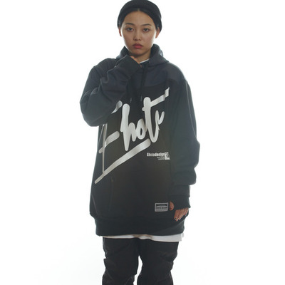 [season off sale] ehoto ski & snowboard hoodie signature line - drift (black & darkgrey)