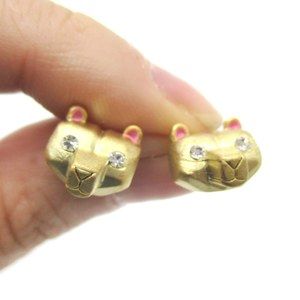 3D Super Cute Polar Bear Face Shaped Animal Stud Earrings in Gold