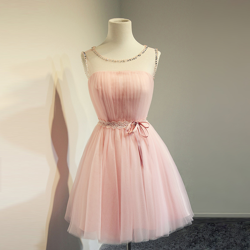 Top selling cheap blush pink short beading prom dresses a for Cheap blush wedding dresses