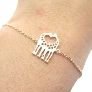 Mother and Baby Giraffe Shaped Animal Themed Charm Bracelet in Rose Gold